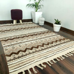 Avioni Boho Look Cotton Printed & Part Tufted Floor Rug / Durrie – Brown Colour