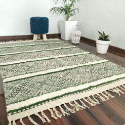 Avioni Boho Look Cotton Printed & Part Tufted Floor Rug / Durrie – Green & Cream