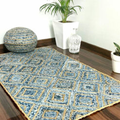 Save 5% on Combo of Denim/Jeans With Jute and Denim Handmade Braided Pouf and Diamond Area Rug | Avioni- Premium Collection