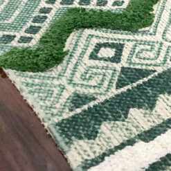 Avioni Boho Look Cotton Printed & Part Tufted Floor Rug / Durrie – Green