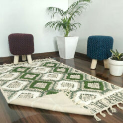 Avioni Boho Look Cotton Printed & Part Tufted Floor Rug / Durrie – Green & Cream Diamonds