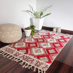 Avioni Boho Look Cotton Printed & Part Tufted Floor Rug / Durrie – Red Diamonds