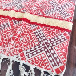 Avioni Boho Look Cotton Printed & Part Tufted Floor Rug / Durrie – Red Cross