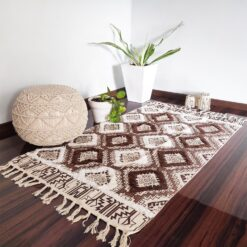 Avioni Boho Look Cotton Printed & Part Tufted Floor Rug / Durrie – Brown Diamonds