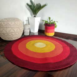 "Avioni Cotton Braided Rising Sun Area Rug ; 120CMS (Diameter) round rug ""Nature Collection"" Specially designed for festive season, Handmade by Skilled Artisan, Cotton Rich Vibrant"
