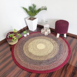 "Avioni Cotton Braided Red Gradient Autumn Forest Rug with Free Basket; 140CMS (Diameter) round rug ""Nature Collection"" Specially designed for festive season, Handmade by Skilled Artisan, Cotton Rich Vibrant"