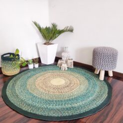 """Avioni Cotton Braided Red Gradient Green Mountain Forest Rug with Free Basket; 140CMS (Diameter) round rug """"Nature Collection"""" Specially designed for festive season, Handmade by Skilled Artisan, Cotton Rich Vibrant"""