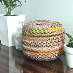 Bigmo Boho Braided Natural Jute and Multi Chindi Pouf Ottoman Large Size