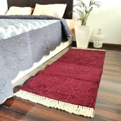 Avioni Bedside/Hallway/Pooja Carpets In Faux Silk Mahroon Plain With Lurex-(22X55 Inch)