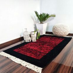 Avioni Carpets for Living Room – Neo Modern Collection Red And Black Carpet/Rug – 92x 152 cm (3×5 Feet)
