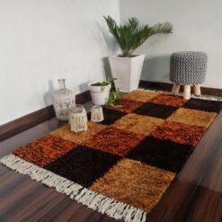 Avioni Carpets for Living Room/Pooja Room – Neo Modern Collection Orange Tie-Dye Box Carpet/Rug – 92x 152 cm (3×5 Feet)