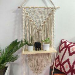 Avioni Hand Knotted Macrame Hanging/ Single Shelf In Pine Wood Boho Look – In Giftable Cartoon/ Best Festival/Wedding Gift