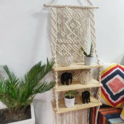 Avioni Hand Knotted Macrame Hanging/ Three Shelf In  Pine Wood  Boho Look – In Giftable Cartoon/ Best Festival/Wedding Gift