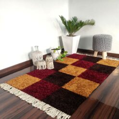 Avioni Carpets for Living Room/Pooja Room – Neo Modern Collection Red-Coffee Box Carpet/Rug – 92x 152 cm (3×5 Feet)