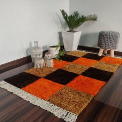 Avioni Carpets for Living Room/Pooja Room – Neo Modern Collection Orange-Coffee Box Carpet/Rug – 92x 152 cm (3×5 Feet)