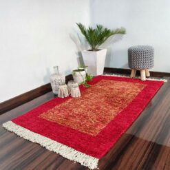 Avioni Carpets for Living Room/Pooja Room – Neo Modern Collection Red And Gold Carpet/Rug – 92x 152 cm (3×5 Feet)