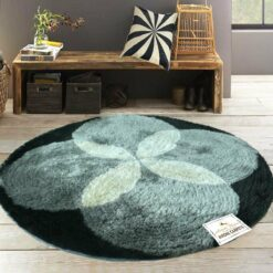 Handloom Soft Shaggy Black and Gray Flowers Round Carpet (130 Cms) by Avioni