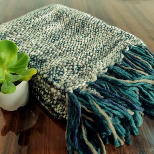Avioni Sofa Throws/Blankets Super Soft Acrylic Handloom Weaved Blue Green Tone Multicolour – (Aura Collection)-127×152 cm (50 x 60 Inch)