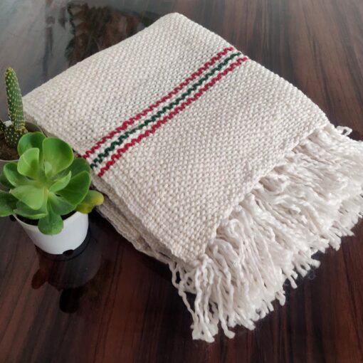 Avioni Sofa Throws/Blankets Super Soft Acrylic Handloom Weaved White – (Aura Collection)-127×152 cm (50 x 60 Inch)