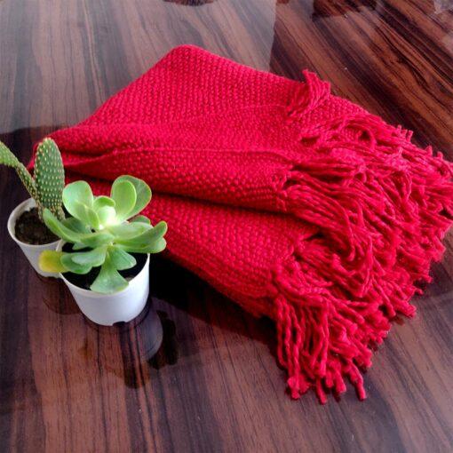 Avioni Sofa Throws/Blankets Super Soft Acrylic Handloom Weaved Red – (Aura Collection)-127×152 cm (50 x 60 Inch)