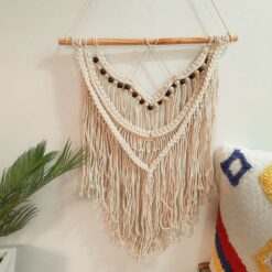 Avioni Hand Knotted Macrame Hanging Rustic hand Woven  Boho Look With Black And Natural Beeds- In Giftable Carton/ Best Festival/Wedding Gift-47×67