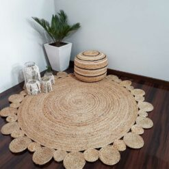 Avioni Home Eco Collection – Handwoven Braided Jute Round Carpet with Small Circle Borders – 122 cm and 152 cm Round