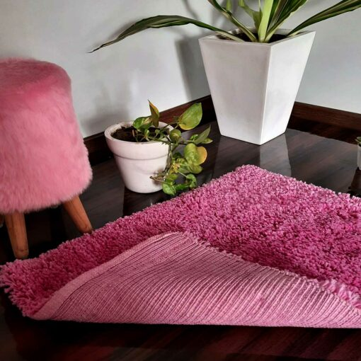 Shaggy Carpet | Washable | Hand Woven Super Luxurious Feel | Export Quality- Pink Color (Copy)