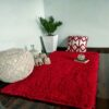 Shaggy Carpet | Washable | Hand Woven Super Luxurious Feel | Export Quality- Red Color