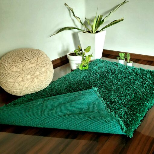Shaggy Carpet   Washable   Hand Woven Super Luxurious Feel   Export Quality- Turquoise Color