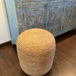Avioni Home BigMo Collection – Boho Style Large Natural Jute Pouf / Ottoman