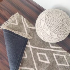 Avioni Atlas Collection- Micro  Moroccan Lattice Carpets In Gray And White ( 92×152 cm)