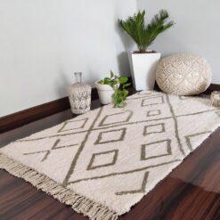 Avioni Atlas Collection- Micro  Moroccan Lattice Carpets In Off-White and Gray ( 92×152 cm)