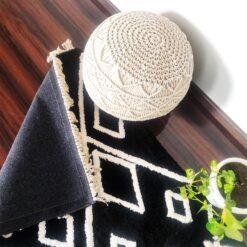 Avioni Atlas Collection- Micro  Moroccan Lattice Carpets In Black And White ( 92×152 cm)