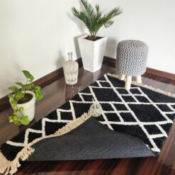 Avioni Atlas Collection- Micro  Moroccan Lattice Carpets In Black And White  Diamonds ( 92×152 cm)
