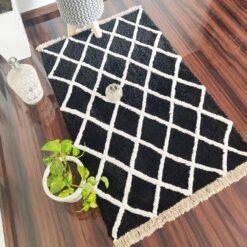 Avioni Atlas Collection- Micro  Moroccan Lattice Carpets In Black And White Small Diamonds ( 92×152 cm)