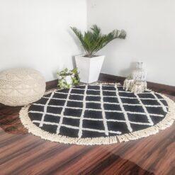 Avioni Atlas Collection- Micro  Moroccan Lattice Carpets In Black And White Small Diamonds- 130 CMS