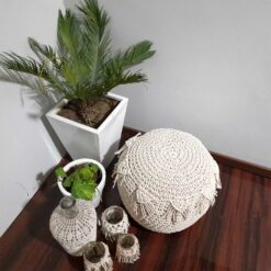 Avioni Home BigMo Collection – Boho Knotted Cotton Pouf / Ottoman ? Natural Mystic Off-White – 35cm x 40cm x 40cm