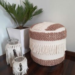 Avioni Home Boho Collection – Boho Drum Pouf – Brown & White With Braids and Tassels ? 40cm x 40cm x 40cm