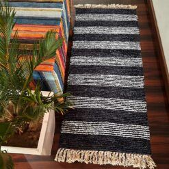 Avioni Bedside/Hallway/Pooja Carpets In Faux Silk Black Gray-(22X55 Inch)