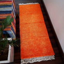 Avioni Bedside/Hallway/Pooja Carpets In Faux Silk Orange-(22X55 Inch)