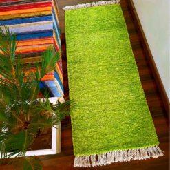 Avioni Bedside/Hallway/Pooja Carpets In Faux Silk Green-(22X55 Inch)