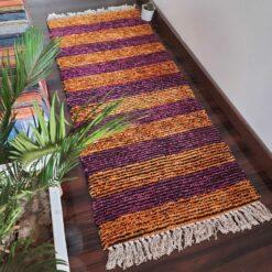 Avioni Bedside/Hallway/Pooja Carpets In Faux Silk Orange Multi-(22X55 Inch)