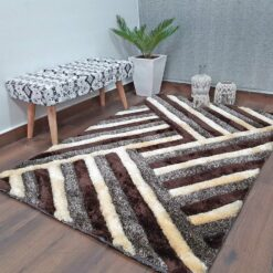 Avioni Shaggy Carpets in Beautiful Coffee Squares Modern Pattern