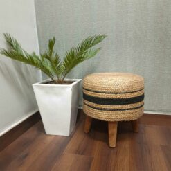 BIGMO Luxury Jute With Black Design Home Utility Padded Stool/ Ottoman (4 Legs-Added Stability-Natural Finish)