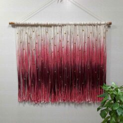 Avioni Hand Knotted Macrame Hanging  Tie-Die In Pink-Red Family With BeadsBoho Look – In Giftable Carton/ Best Festival/Wedding Gift-90×80 cms