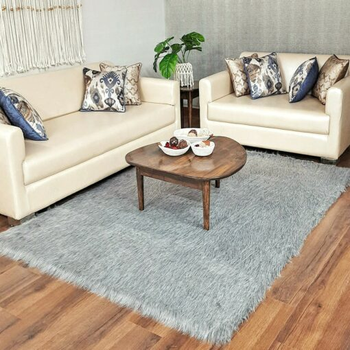 Grey Faux Fur Carpet for Living Room